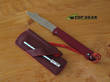 Douk-Douk Pocket Knife with Leather Sheath and Sharpening Steel, Red Handle - 815GMCOLR