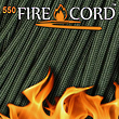 Live Fire Gear Firecord 550 - The Thin Red Line Paracord with Firestarter - FC-OLIVEDRAB-25