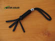 Paracord 550 Knife Lanyard with Skull Bead - Black PLBB