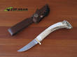 Silver Stag Damascus Swoop Crown Knife with Stag Handle - DPSC2.5