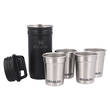Stanley Adventure Packable Stainless Steel Shot Glass Set, 4 Shot Glasses, Black - 10-01705-034