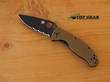 Sypderco Tenacious Folding Knife, Brown Handle, Semi-Serrated - C122GPSBBN