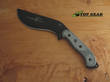 Tops Bushcrafter Kukuri Knife, 1095 High Carbon Steel, Black Linen Micarta Handle - TPBKUK01