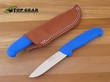 Victory Hunter's Drop-Point Knife with Leather Sheath, Blue Handle - 3/303/10/202B