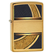Zippo Gold and Black Lighter, Brushed Brass - 28673