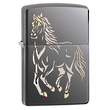 Zippo Running Horse Windproof Lighter, Black Ice - 28645